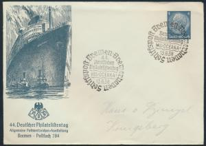 Reich Privatganzsache PU 128 44. Philatelistentag Schiffspost Bremen Hindenburg