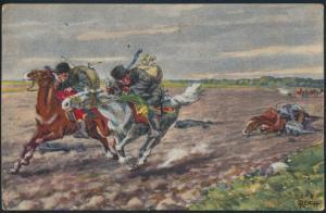 Ansichtskarte Räuberische Reiter Pferde Krieger- Fechtschule Künstler Reich