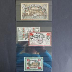 4 Geldscheine Banknoten Notgeld Eutin 25-100 Pf 1920 Gra 359.1