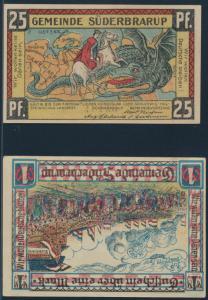 2 Geldscheine Banknoten Notgeld Süderbrarup Gra 1294.4+1294.6