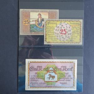 3 Geldscheine Banknoten Notgeld Tondern Gra 1329.1 + 1329.2
