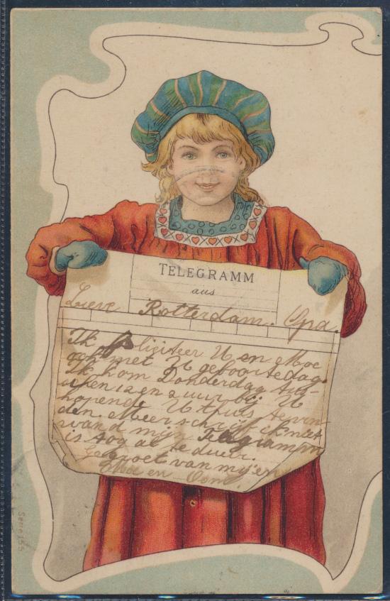 Ansichtskarte Jugendstil Art Nouveau Litho Rotterdam 1906 Telegramm Mädchen  0