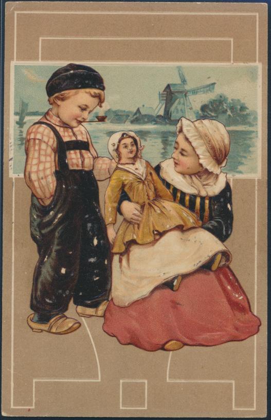 Ansichtskarte Jugendstil Prägekarte nach Venlo 1909 Kinder mit Puppe Mühle Meer 0