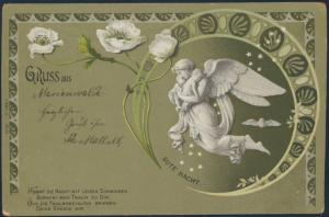 Ansichtskarte Jugendstil nach Reattischken 1902 Gruss aus Marienwalde Engel