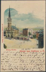 Ansichtskarte Evangelische Kirche Gablonz an der Neiße Sudetenland nach Rykon