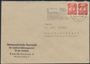 Saar Brief MEF 281 Werbestempel Motiv Briefmarkenausstellung IMOSA Saarbrücken