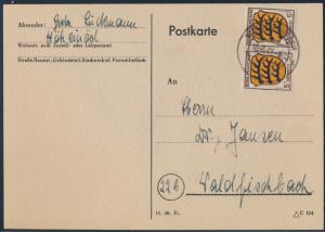 Franz. Zone Allg. Ausgabe Brief Ortskarte MEF 3 5 Pfg. Paar Waldfischbach 1947