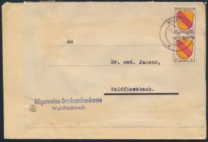 Franz. Zone Allg. Ausgabe Brief doppelt verwendet MEF 4 Waldfischbach 24.9.1947