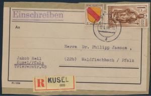 Franz. Zone Brief R-Päckchen MIF allgemein + Rheinland Pfalz 4 + 15 Kusel