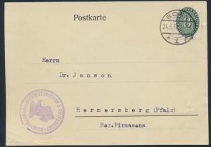 Deutsches Reich Karte Dienst EF 8 b opalgrün Bonn n. Hermersberg Pfalz 24.6.1930
