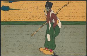Ansichtskarte Jugendstil nach Brüssel 1905 Wanderer Angel Pfeife