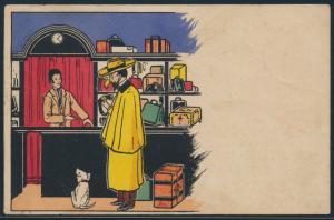 Ansichtskarte Jugendstil Künstlerkarte Gouda 1903 Mann mit Hund im Geschäft