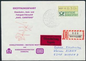 Bund Brief Eilzustellung Einschreiben ATM 1 SST Eisenbahn Fährschiff K.Carstens