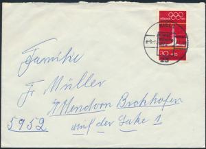 Bund Brief EF 721 SST Kiel 1 Kieler Woche nach Attendorn 1972