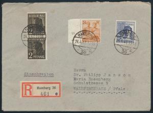 Besetzung Brief MIF 943 951 Rand mit Nr. +957 Gemeinschaft Hamburg Waldfischbach