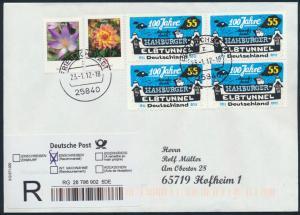 Bund Brief Einschreiben MIF 2462+2480+2890 Viererblock Friedrichstadt n.Hofheim
