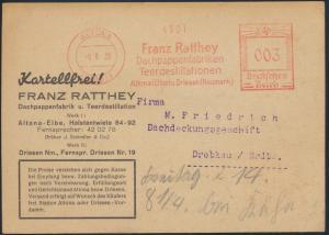 Deutsches Reich Brief Reklame Postkarte Altona Drebkau Absenderfreistempel 003