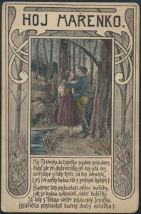 Ansichtskarte Künstler Jugendstil Hoj Marenko Paar im Wald Bach