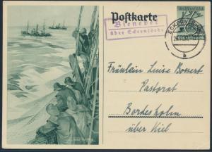 Deutsches Reich Ganzsache P 266 Abb. Fiscer Landpoststempel Bienebek Bordesholm