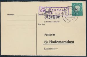 Bund Brief Postkarte 303 Heuss Landpost Bendorf nach Hademarschen via Itzehoe