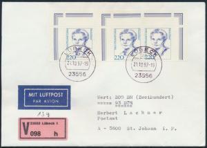 Bund Wertbrief MEF1940 Bogenecke Lübeck n. St. Johann Österreich  21.10.1997