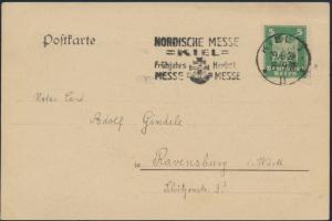 Deutsches Reich Postkarte 356 Werbestempel Kiel Nordische Messe Kiel Ravensburg