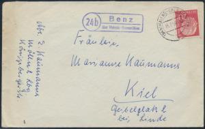 Bund Brief Landpost 185 Landpoststempel Benz über Malente-Gremsmühlen n. Kiel