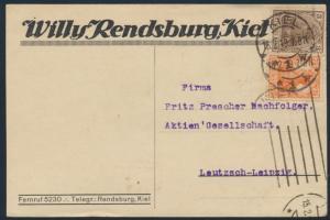 Deutsches Reich Brief Postkarte MIF 84+99 Kiel nach Leutzsch-Leipzig 15.2.1919