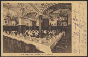 Ansichtskarte Foto Breslau nach Nisseldorf Rats-Weinkeller Inh. C.Großmann Innen