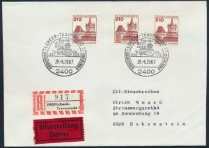 Bund Brief Einschreiben Eilzustellung MEF 998 SST Lübeck n Hohenstein 29.5.1987