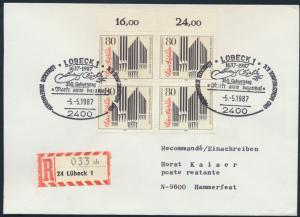Bund Brief Einschreiben MEF 1323 Viererblock FDC Lübeck n Hammerfest Polarkreis
