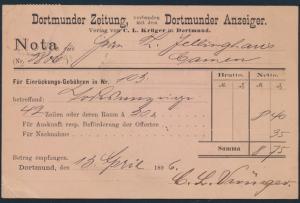 Deutsche Reich Nachnahme MIF Pfg. Adler Dortmund Zeitung C.L. Krüger Reklame
