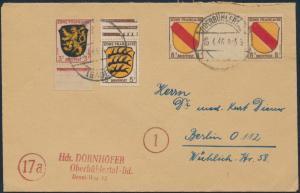 Französische Zone 2-4 Ober-/Unterrand Zwischenstegpaar Oberbühlertal n. Berlin