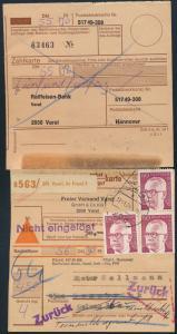 Bund MEF 730 Heinemann Paketkarte nicht eingelöste Nachnahme Nachgebühr selten
