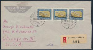 Schweiz Flugpost R-Brief MEF 735 Pro Patia 3erStreifen Oberentfelden Chicago USA