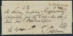 Altdeutschland Preussen Vorphila Brief L2 Rathenow nach Potsdam 13.12.1836 kompl