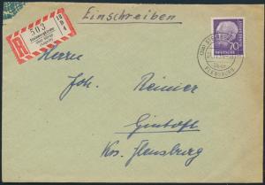 Bund R - Brief 191 Landpoststempel Steinbergkirche über Flensburg n. Gintoft