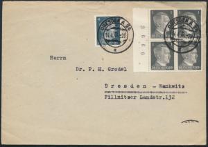 Deutsches Reich Brief MIF 781 Viererblock Seitenrand Bogenzähler 784 Dresden