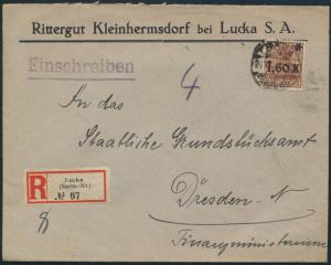Deutsches Reich Brief R-Brief 154 IIa Lucka nach Dresden 24.10.1921