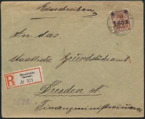 Deutsches Reich Brief R-Brief 154 IIa Hirschfelde nach Dresden 23.11.1921