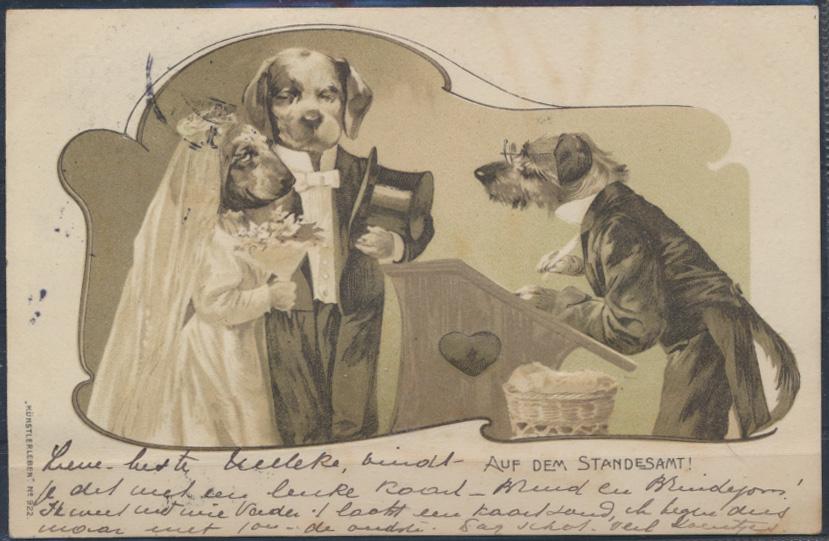 Ansichtskarte Jugendstil Künstler Personifizierte Hunde HochzeitStandesamt Tiere 0