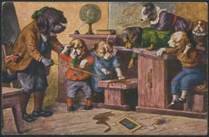 Ansichtskarte Personifizierte Hunde Schule Lehrer Strafe