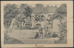 Ansichtskarte Personifizierte Hunde Sonntagstisch im Garten Kaffeklatsch Tiere