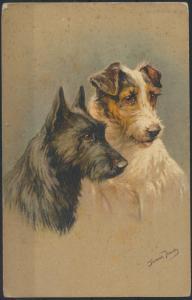 Ansichtskarte Künstler Jannie Froudy 2 Hunde im Portrait Tiere