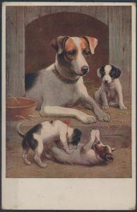 Ansichtskarte Künstler Hundemama passt auf ihre spielenden Welpen auf Hundehütte