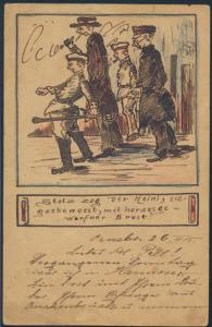 Ansichtskarte Künstler handgemalt Humor Karikatur Jugendstil Art Nouveau