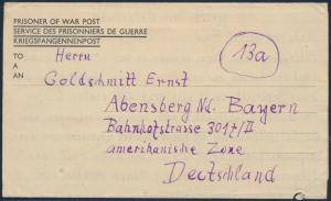 Besetzung Brief Kriegsgefangenenpost Prisoner Of War Post 1947