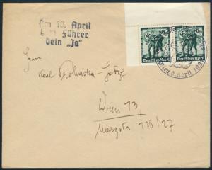 Dt. Reich Brief 662 Bogenecke Österreich Wien SST Tag des Großdeutschen Reichs