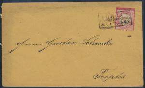 Deutsches Reich Brustschild Brief 19 Rahmenstempel R3 Gera nach Triptis 8.4.1873