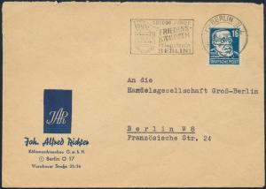 SBZ Brief EF Werbestempel Berlin N 4 Friedenskämpfer Jugend Brandenburger Tor